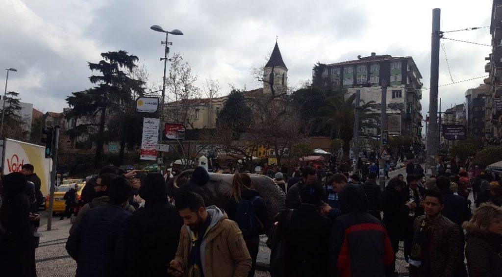 Kadikoy Bull statue- Fenerbahce fans meeting point during matchdays