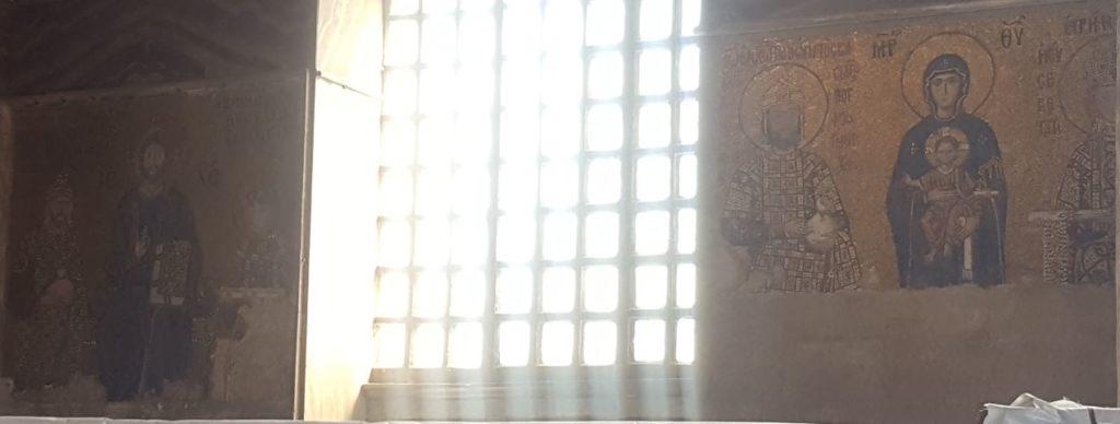 Komnenos and Zoe mosaics in Hagia Sophia Istanbul