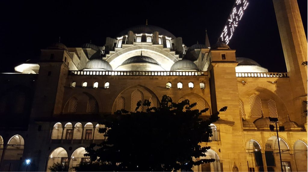 Suleymaniye Mosque a view at night