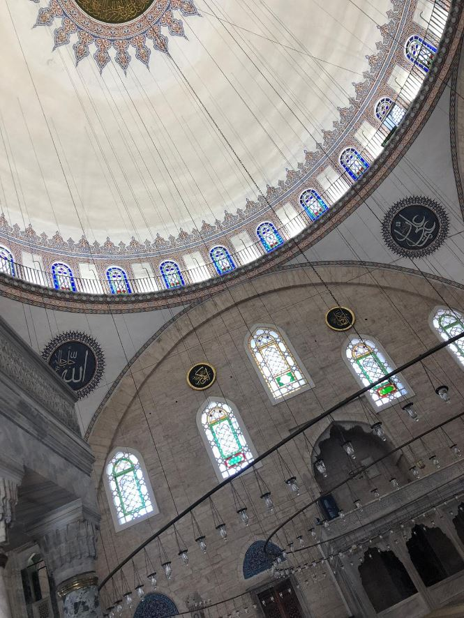Yavuz Sultan Selim Mosque- The dome and the chandelier