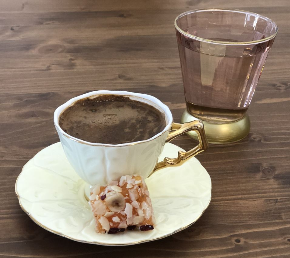 Lokum with Turkish coffee
