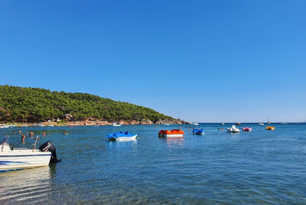 Ayvalik Badavut beach with green nature