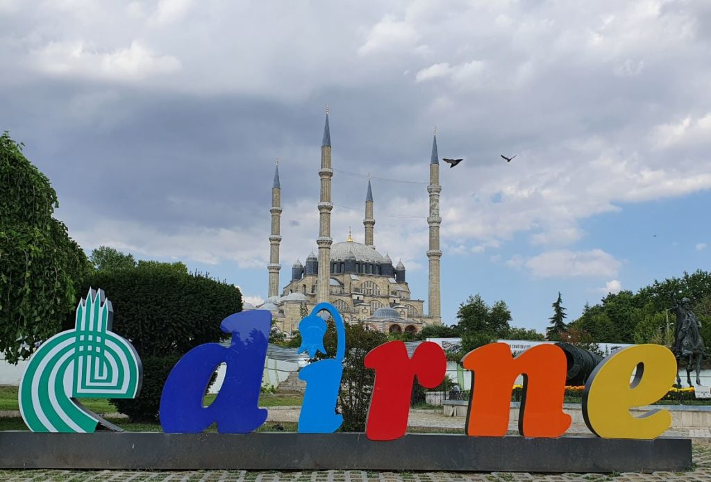 Edirne as word and Selimiye Mosque in the background
